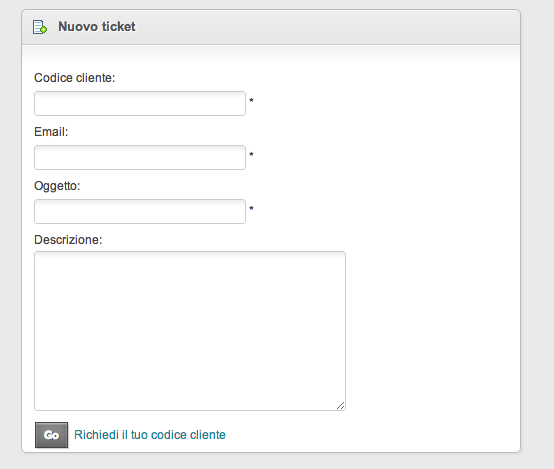 help desk software nuovo ticket da form web